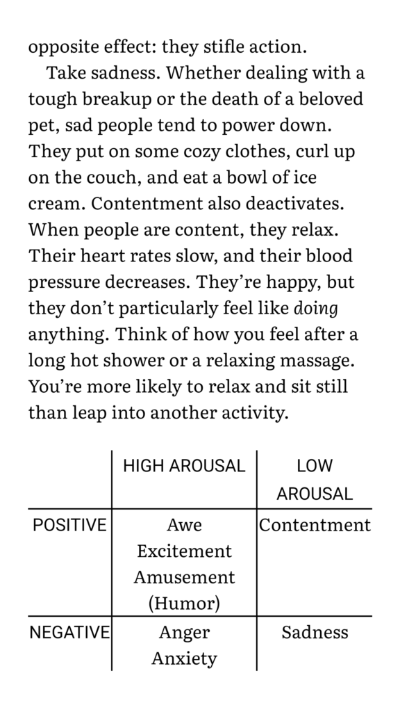 a table of emotional arousal from jonah berger's book contagious