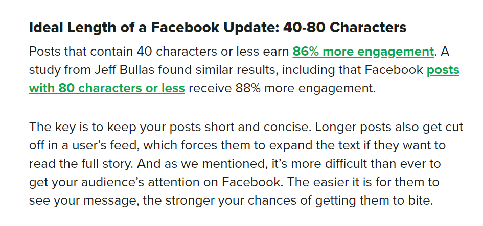 sprout social ideal facebook character length