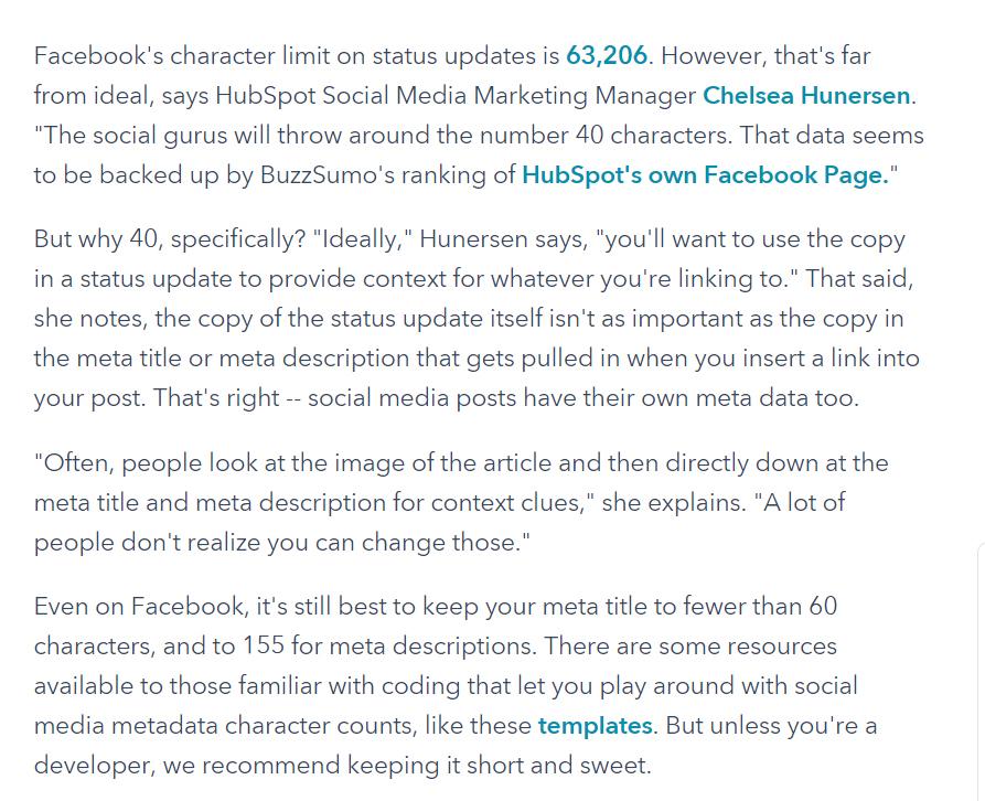 hubspot facebook character length description
