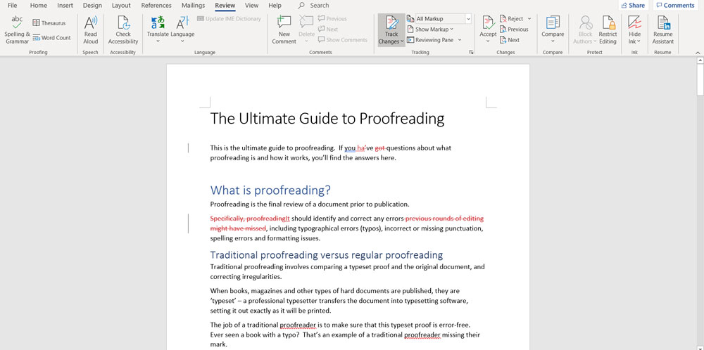 microsoft word proofreading function