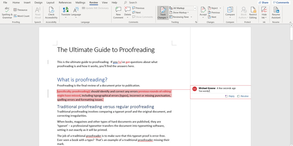 microsoft word track changes comment
